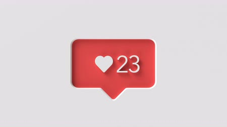 favori : A sign symbolizing the sympathy of social media, the heart of counter increase fast animation with the user interface