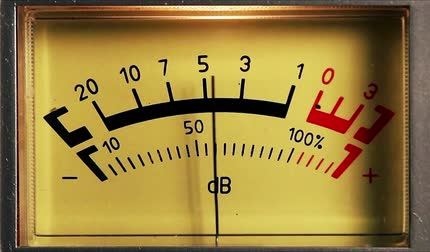 lighting equipment : Analog sound meter, black and red line with yellow lighting