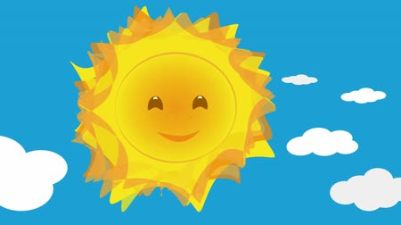 napsütéses napon : Cute sun cartoon talking animation