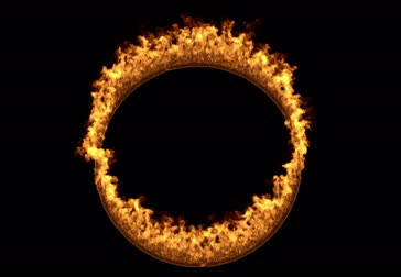 Flames design.wildfire backdrop.Ring of fire 3d rendering over black background