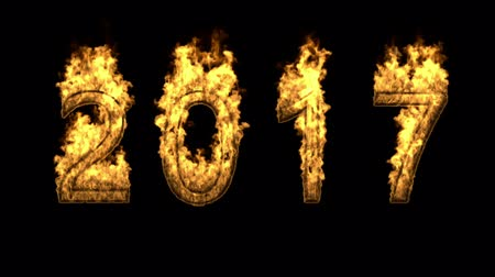 New year isolated over black.3D rendering 2017 fire.Flames and fire background Stock Footage