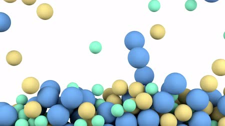 Balls filling a box backdrop.3D rendering blue balls falling in a box background