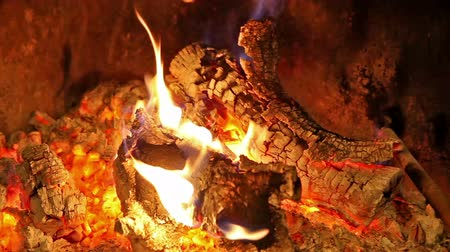 Fireplace and flames.Winter background.Wood burn detail Stock Footage