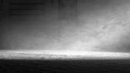 Cement floor background in dark room.3d illustration.Smoke and fog indoor scene