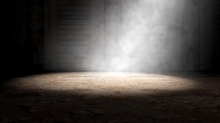 Smoke and fog indoor scene.Cement floor background in dark room.3d illustration