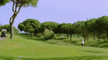 portugalsko : Golf tee shot, in Algarve famous course destination, Portugal. (Timelapse)