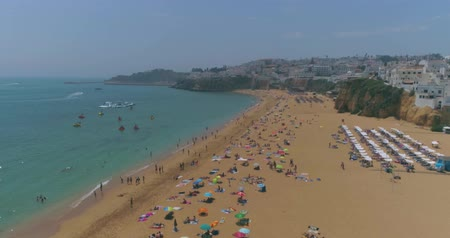 halász : Aerial view of Praia dos Pescadores (Fishermen beach) in a sunny day, famous destination in Albufeira, Algarve, Portugal.