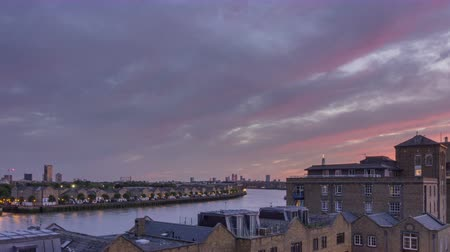 docklands : London city riverside cloudscape sunset timelapse