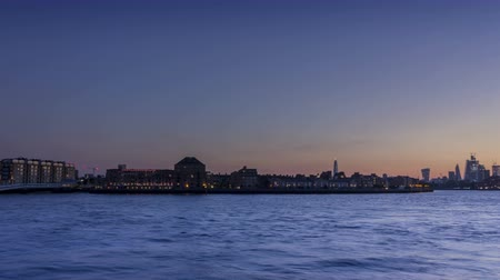 docklands : London city riverside dusk to night pan timelapse