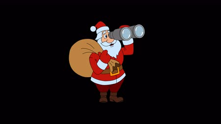 elle çizilmiş : Animated Santa Claus is coming with a Christmas bag and looking through binoculars
