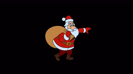 elle çizilmiş : Animated Santa Claus is coming with Christmas gift bag and holds the balance Stok Video