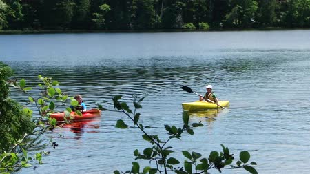 Kayaks regresar a la costa en Long Pond, Archivo de Video