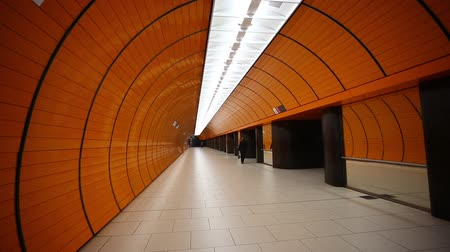 editorial : Munich, Germany - January 04, 2016: View of the orange Marienplatz subway station