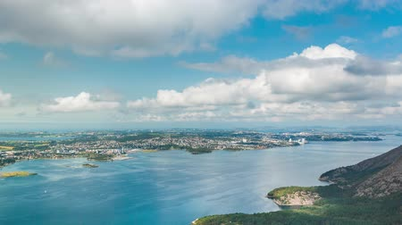 Top view of the Stavanger city from Dalnutsen mountain in summer, timelapse