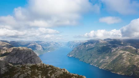 Aerial view of the Lysefjord in Norway in summer