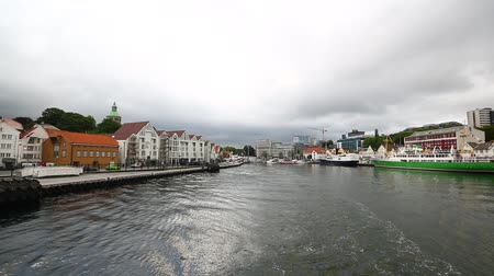 View of the harbor of Stavanger from the tourist boat Stock Footage