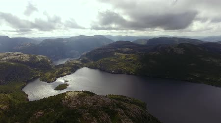 Aerial view of the mountain lake in summer time Stock Footage