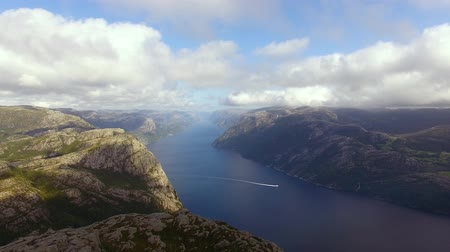 abyss : Aerial view of the Lysefjord in Norway in summer