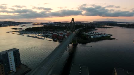 norveç : Aerial view of the bridge in Stavanger city in summer evening