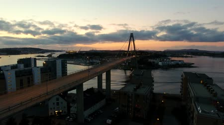 Aerial view of the bridge in Stavanger city in summer evening