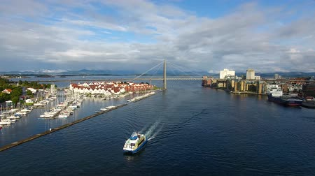 Aerial view of the tourist ship in the bay of Stavanger, Norway Stock Footage