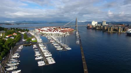 Yachts in the bay of Stavanger, top view Stock Footage