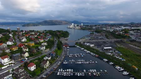 Aerial view of boats in the bay of Stavanger, summertime