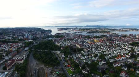 Aerial view of the Stavanger city in summer evening Stock Footage