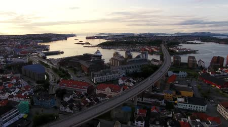 Aerial view of the Stavanger City Bridge in summer evening