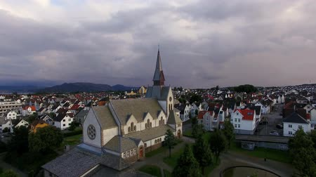 Aerial view of the Saint Johannes Church in Stavanger, Norway
