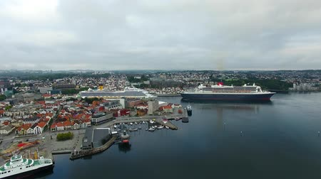 Cruise ships in a harbor of Stavanger Stock Footage