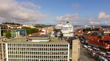 Cruise ships are moored in a harbor of Stavanger in summer, aerial view Stock Footage