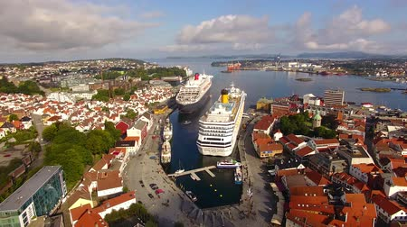 Cruise ships are moored in a harbor of Stavanger in summer, aerial view Dostupné videozáznamy