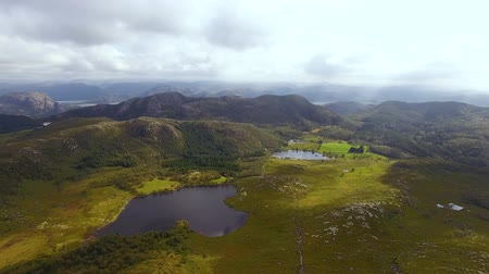 Aerial view of lakes from the top of the Dalsnuten mountain in Norway at summer time Stock Footage