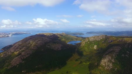 Aerial view of lakes from the top of the Dalsnuten mountain in Norway at summer time Dostupné videozáznamy