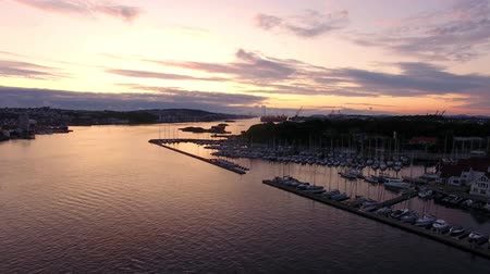 Yachts in the bay of Stavanger in the sunset, aerial view