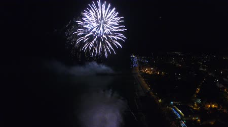 balti tenger : Night view of the fireworks above the city promenade Stock mozgókép