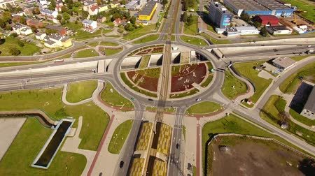 tramwaj : Bird-eye view of the crossroads in Gdansk, Poland