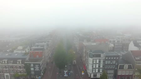 nizozemí : Aerial view of the foggy Amsterdam in autumn