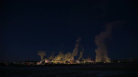 charged : isolated power plant at night landscape Stock Footage