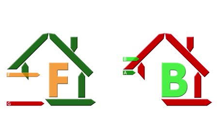 bydlení : Stylized green happy home and stylized sad red house, selected energy efficiency