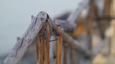atrás : Old Rickety Wooden Fence.  Stock Footage