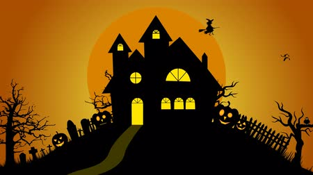 fullmoon : Halloween Creepy house ,graves ,bats and spooky trees on hill design