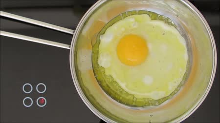 havai : Overhead view of a fresh egg frying in a stainless steel pan on the hob.
