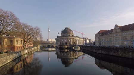 tv tower : BERLIN, GERMANY - FEBRUARY 7, 2018: Bode Museum On The Museum Island With TV Tower In The Background