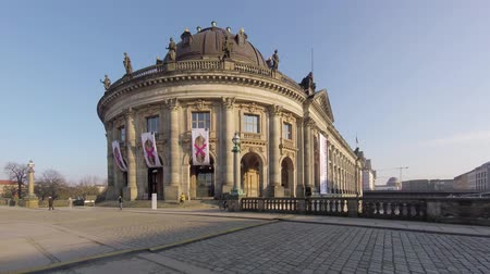 tourist sight : BERLIN, GERMANY - FEBRUARY 7, 2018: Tourists At The Bode Museum On The Museum Island In Berlin, Germany
