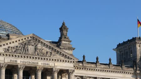 chancellor : German Politics Concept: Pan Shot of The Reichstag Building in Berlin, Germany Stock Footage