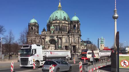 dom : Time Lapse Pan Shot of Traffic At Berliner Dom, Berlin Cathedral, in Berlin, Germany