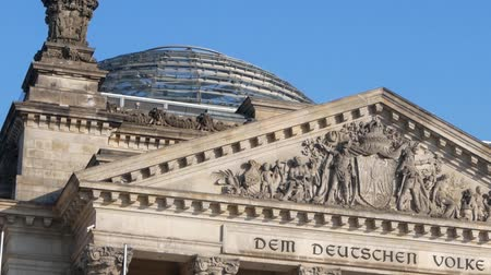 pan shot : German Politics Concept: Pan Shot of The Reichstag Building in Berlin, Germany Stock Footage