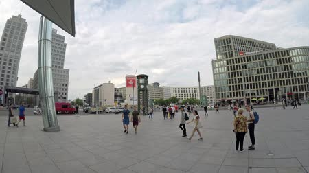 fish eye : BERLIN, GERMANY - JUNE 16, 2018: People At Famous Potsdamer Platz In Berlin In Summer